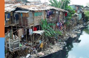 Shacks by a river in Jakarta