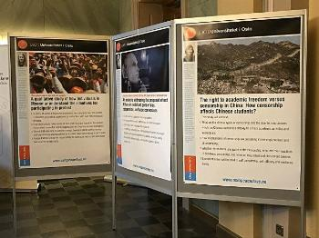 A poster exhibition on topics related to peace, conflict, environment and human rights. Photo: UiO / Hege Svanes