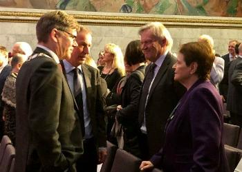 From the left: Svein Stølen (rector UiO), Olav Njølstad (director of the Nobel institute), Per Morten Sandset (vice-rector UiO) and Gro Harlem Brundtland (former prime minister and labor party politician)